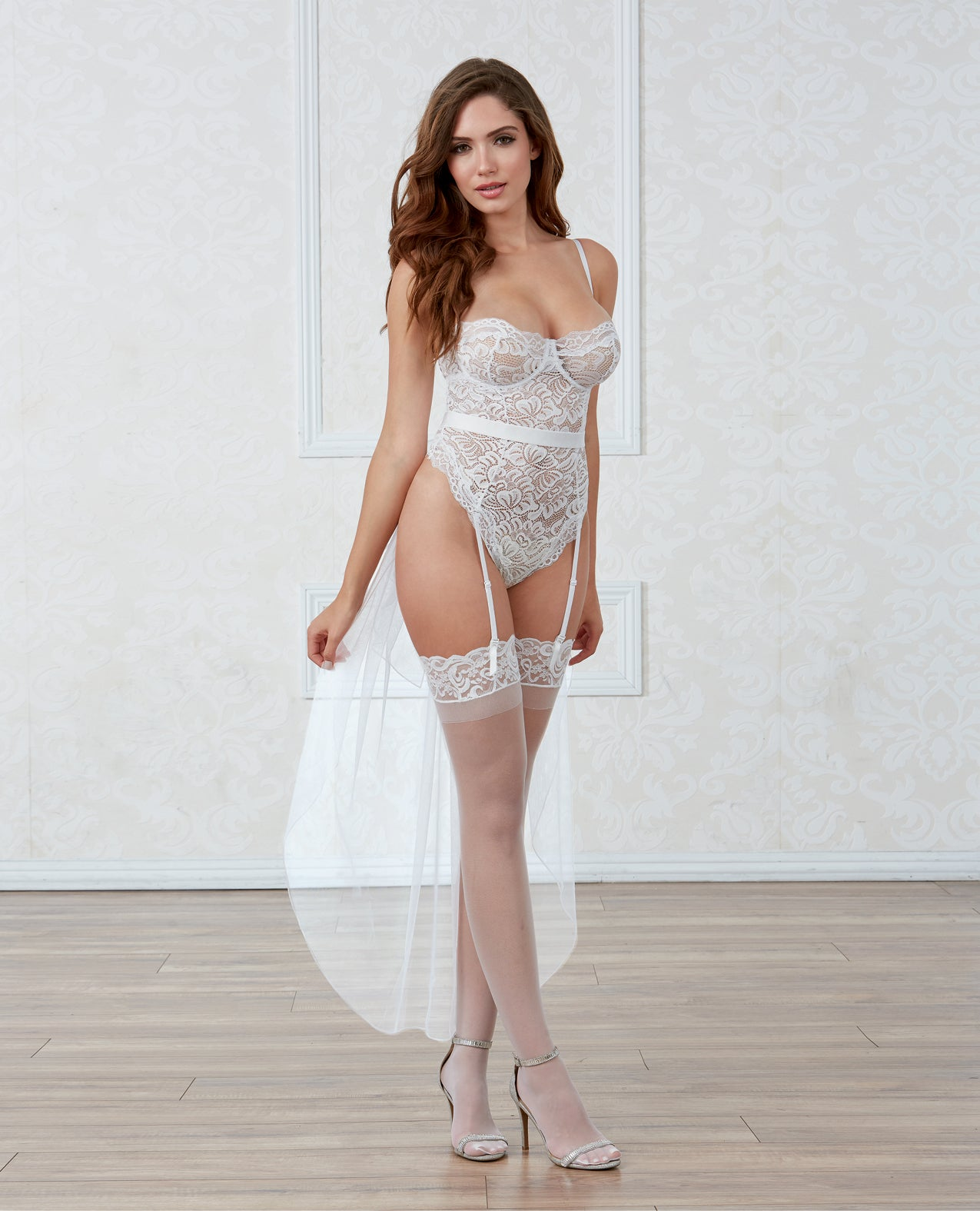 Stretch Lace  Snap Crotch Teddy w/Underwire Cups  & Bridal Belt Tulle Train - White