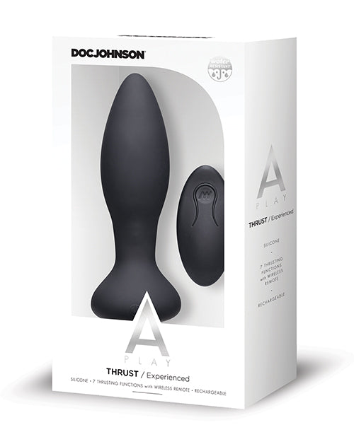 A Play Thrust Experienced Rechargeable Silicone Anal Plug w/Remote - Black