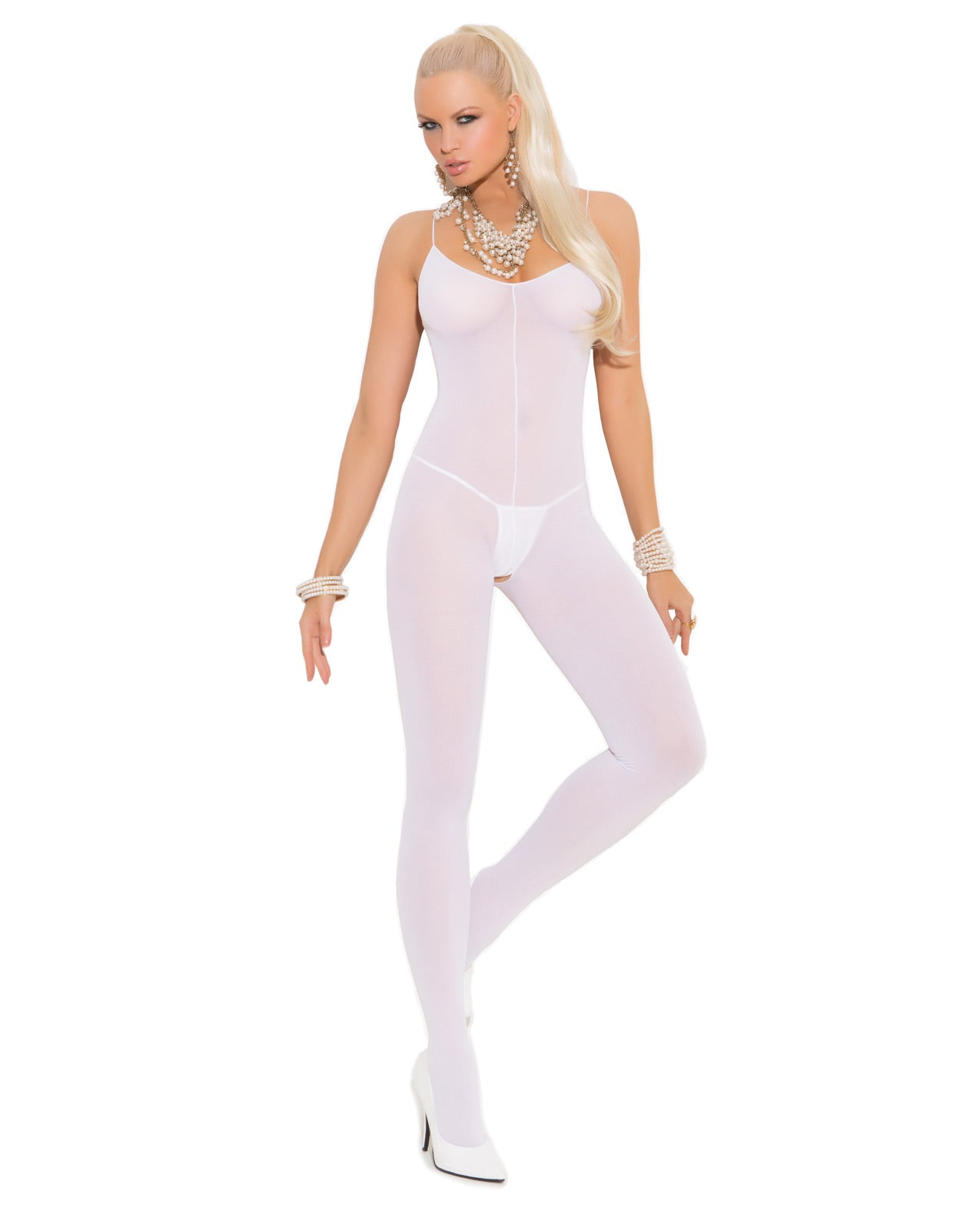 Opaque Bodystocking w/Spaghetti Straps & Open Crotch - White