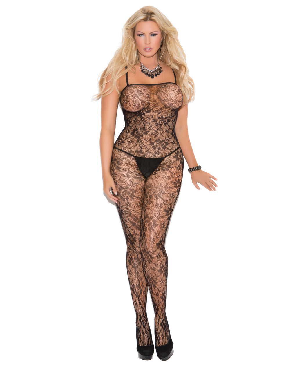 Rose Lace Bodystocking w/Open Crotch Black QNLingerie - Plus/Queen - Packaged