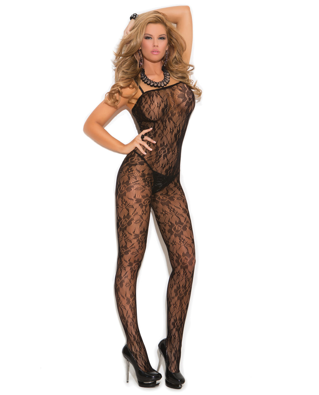 *Rose Lace Bodystocking w/Open Crotch Black O/SLingerie - Packaged