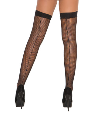 Fishnet Thigh Highs w/Back Seam Black O/S - Lingerie - Packaged - The Fallen Angel