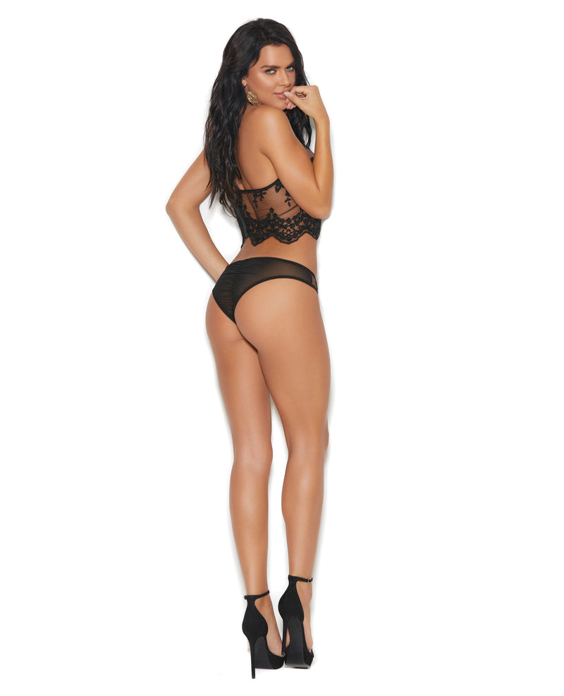 Mesh Halter Neck & Zipper Back Cami w/Embroidered Detail & Ruched Back Panty - Black