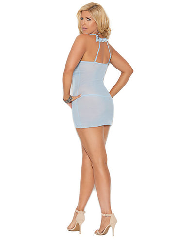 Mesh Cami w/Ruching at Bodice, Neck Closure & Mesh G-String - Baby Blue