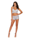 Xena Eyelash Lace Cami Top & Booty Shorts Baby - Blue