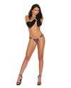 Vivace Crotchless G-String w/Embroidered Applique & Jewel Accents - Purple
