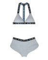 Vibes Resting Bitch Face Bralette & Retro Short - Grey