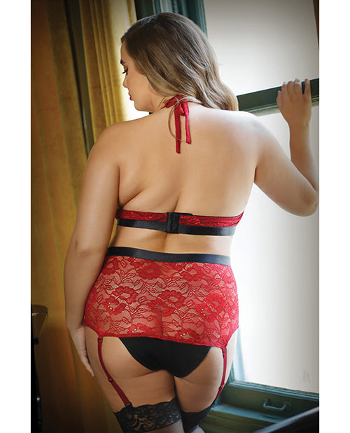 Curve Aria Lace Halter Top & High Waist Panty Red 1X/2X