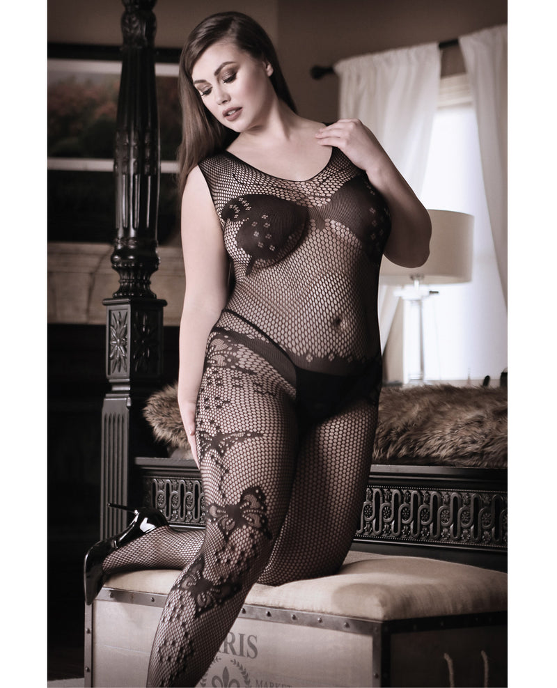 Sheer Fantasy Dark Monarch Butterfly Knit Bodystocking w/Open Crotch Black QNLingerie - Plus/Queen - Packaged