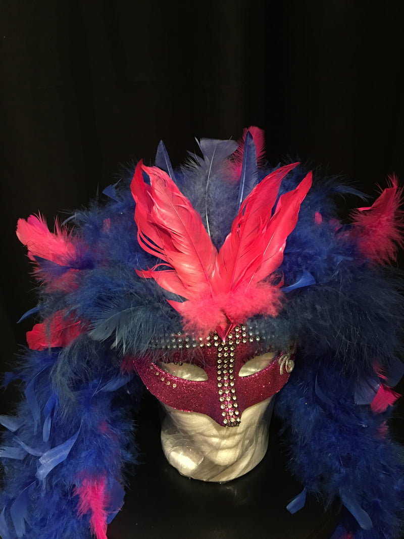 Marabou Boa Feather Glitter Mask - Kylie - Hot Pink and Blue