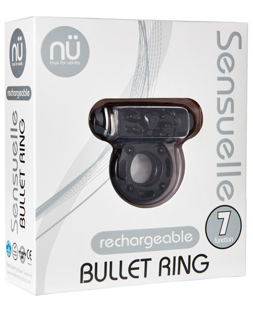 Sensuelle Bullet Ring Cockring - 7 Function Black, Penis Enhancement - The Fallen Angel