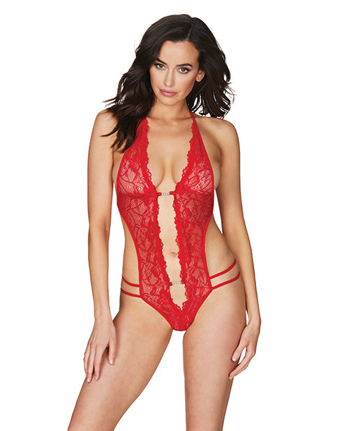 Crotchless Lace Teddy w/Rhinestone Detail Red O/S