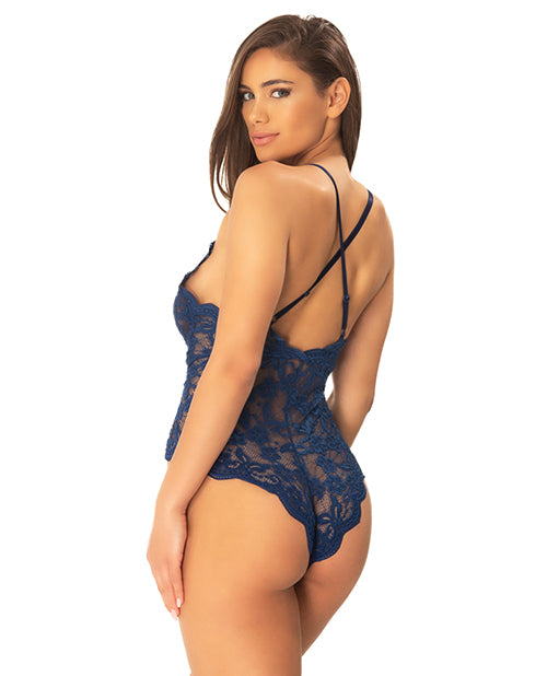 Cortney Floral Lace Romper - Estate Blue