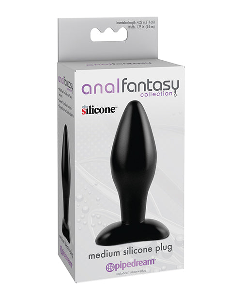 Anal Fantasy Collection Medium Silicone Plug - Black