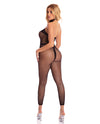 Pink Lipstick Beats Work Geo Bodystocking Black O/S