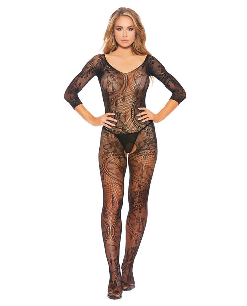 Fishnet & Patterned Open Crotch Bodystocking Black O/SLingerie - Packaged