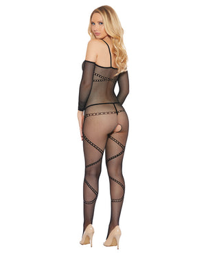 Crotchless, Fishnet, Printed Spaghetti Strap Bodystocking Black O/SLingerie - Packaged