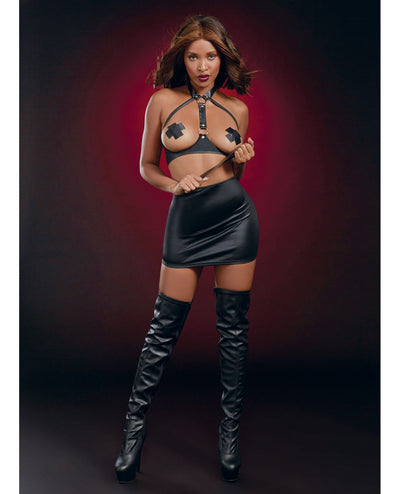 Fetish Open Cup Bra w/Spanking Skirt & Slapper - Black