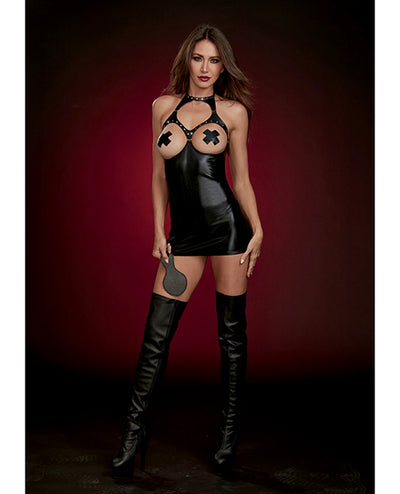 Fetish Stretch Faux Leather Boob Out Chemise & Paddle - Black