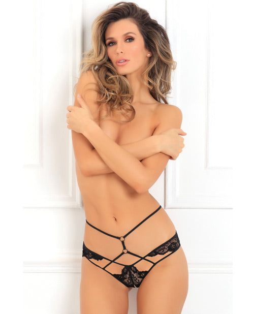 Own It Crotchless Panty - Black