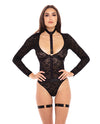 Rene Rofe Up to my Neck Teddy Choker Set  Black S/M