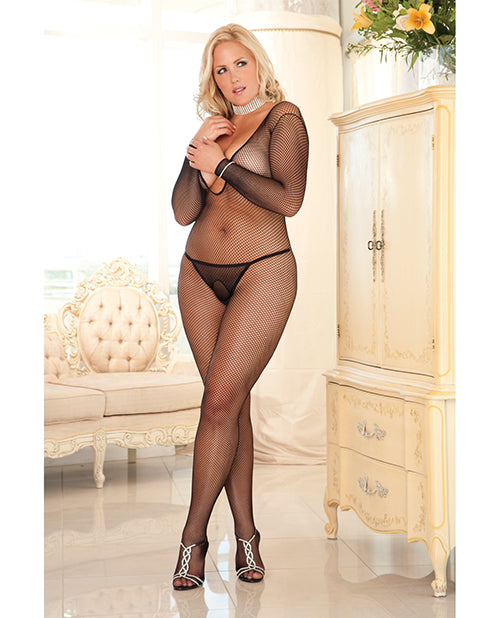 Rene Rofe Criss Cross Backstrap Fishnet Bodystocking Black 1X-3XLingerie - Plus/Queen - Packaged