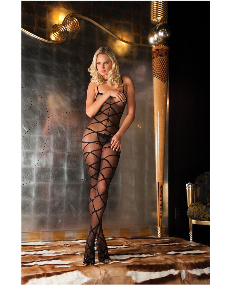 Rene Rofe Strapped Up Sheer Bodystocking Black O/S, Lingerie - Packaged - The Fallen Angel