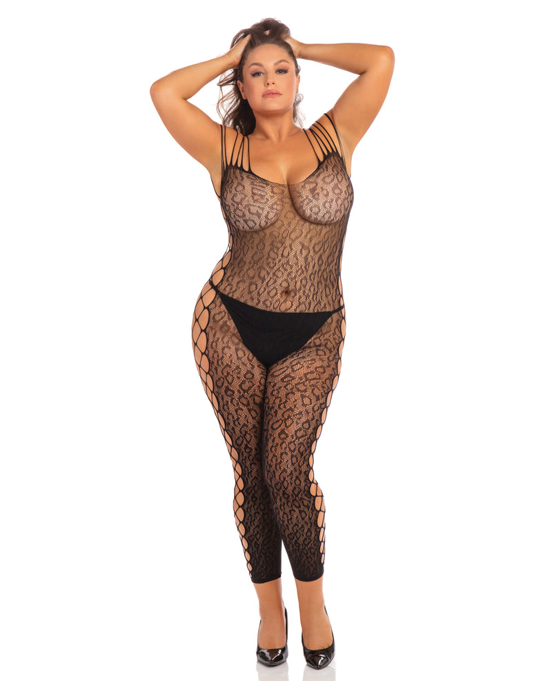 *Rene Rofe Animal Crotchless Bodystocking Black 1X/2XLingerie - Packaged