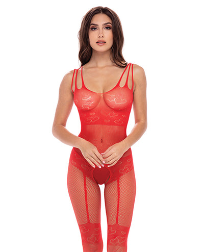 Rene Rofe All Heart Crotchless Bodystocking Red O/S