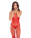 Rene Rofe Sparkle Crotchless Bodystocking Red O/S