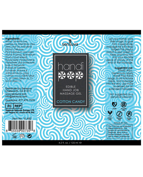 Handipop Hand Job Massage Gel - 4.2 oz Bottle Cotton Candy