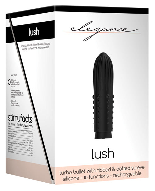 Shots Elegance Lush Rechargeable Bullet - 10 Funtion Black