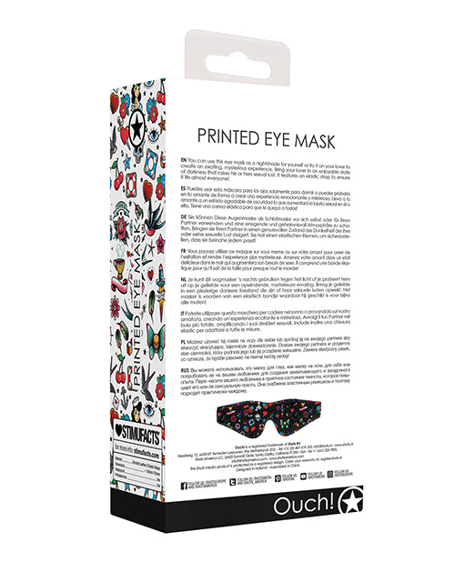 Shots Ouch Old School Tattoo Style Printed Eye Mask - Black