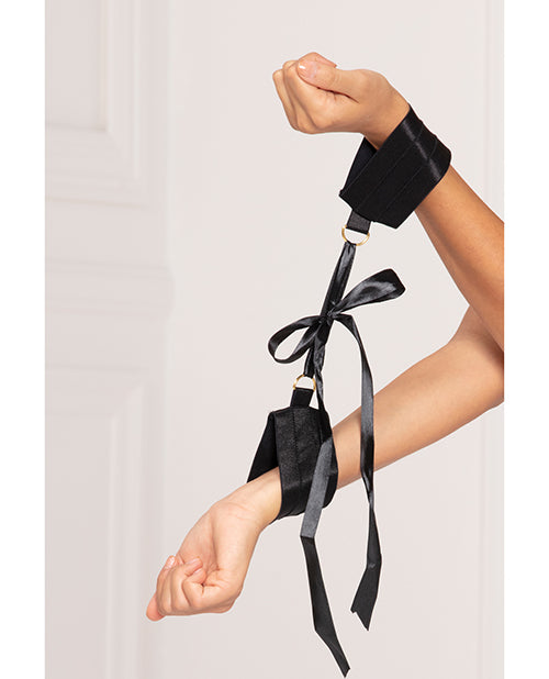 Satin Elastic Cuffs D-Ring & Satin Ribbon Tie Black O/S