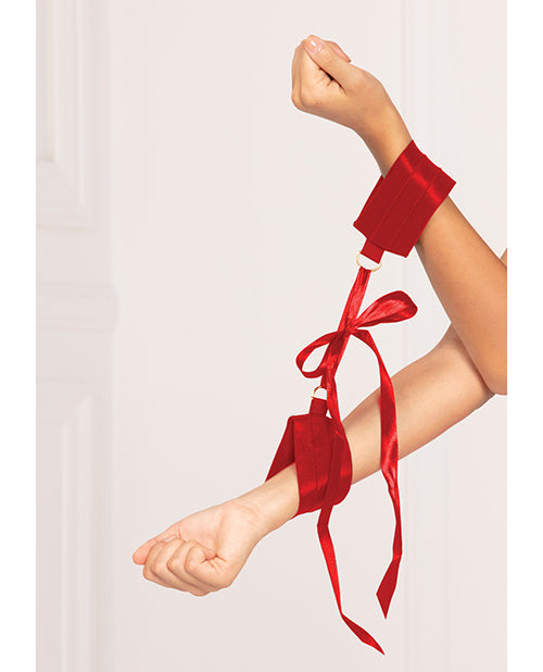 Satin Elastic Cuffs D-Ring & Satin Ribbon Tie Red O/S