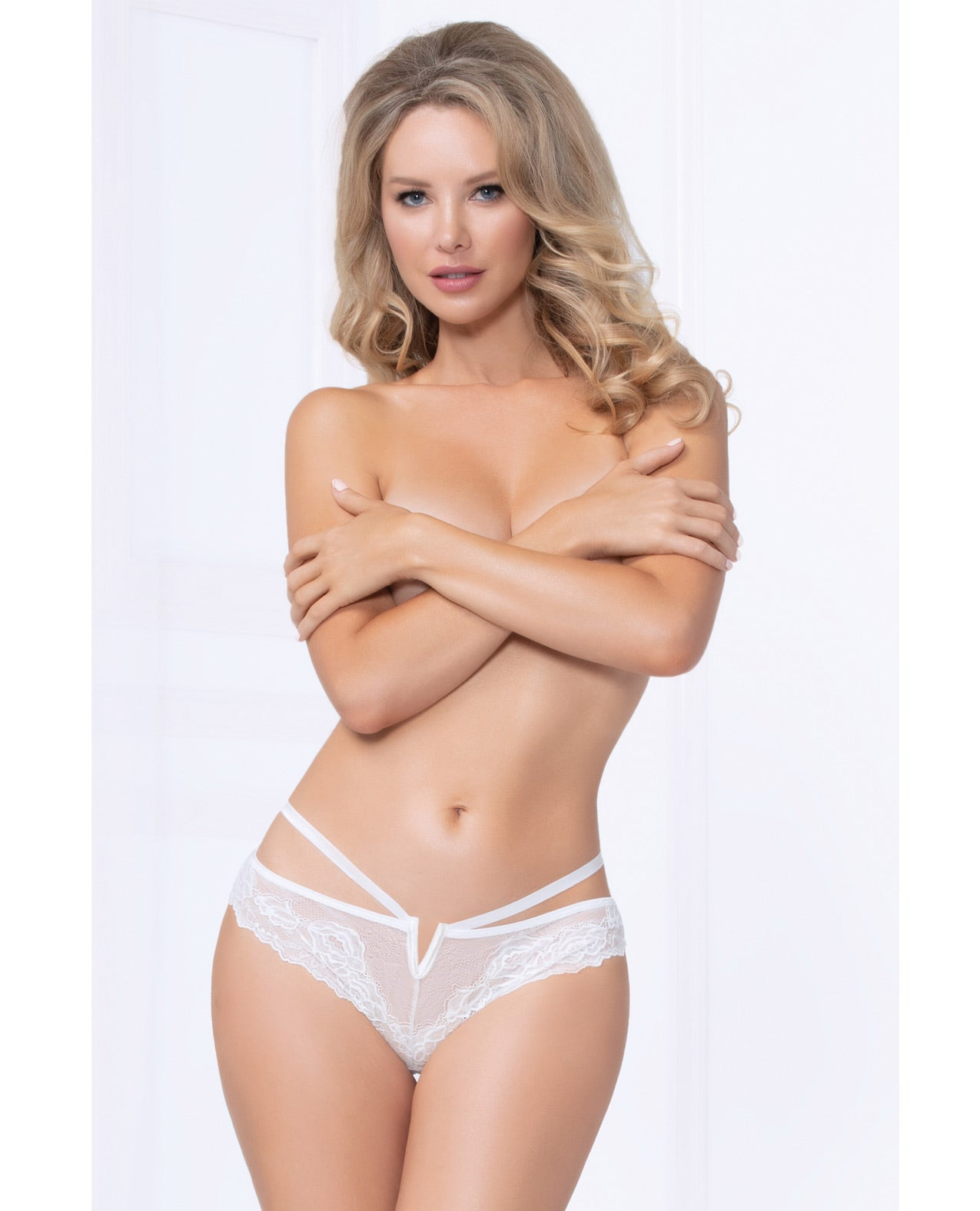 Strappy Lace Thong w/Plunging V Detail - White