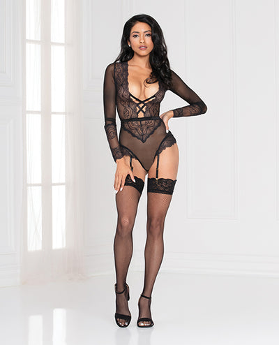 Lace  Snap Crotch Teddy w/Removable Garters - Black