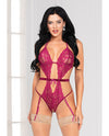 Floral Lace, Open Crotch Teddy w/Removable Garters Wine