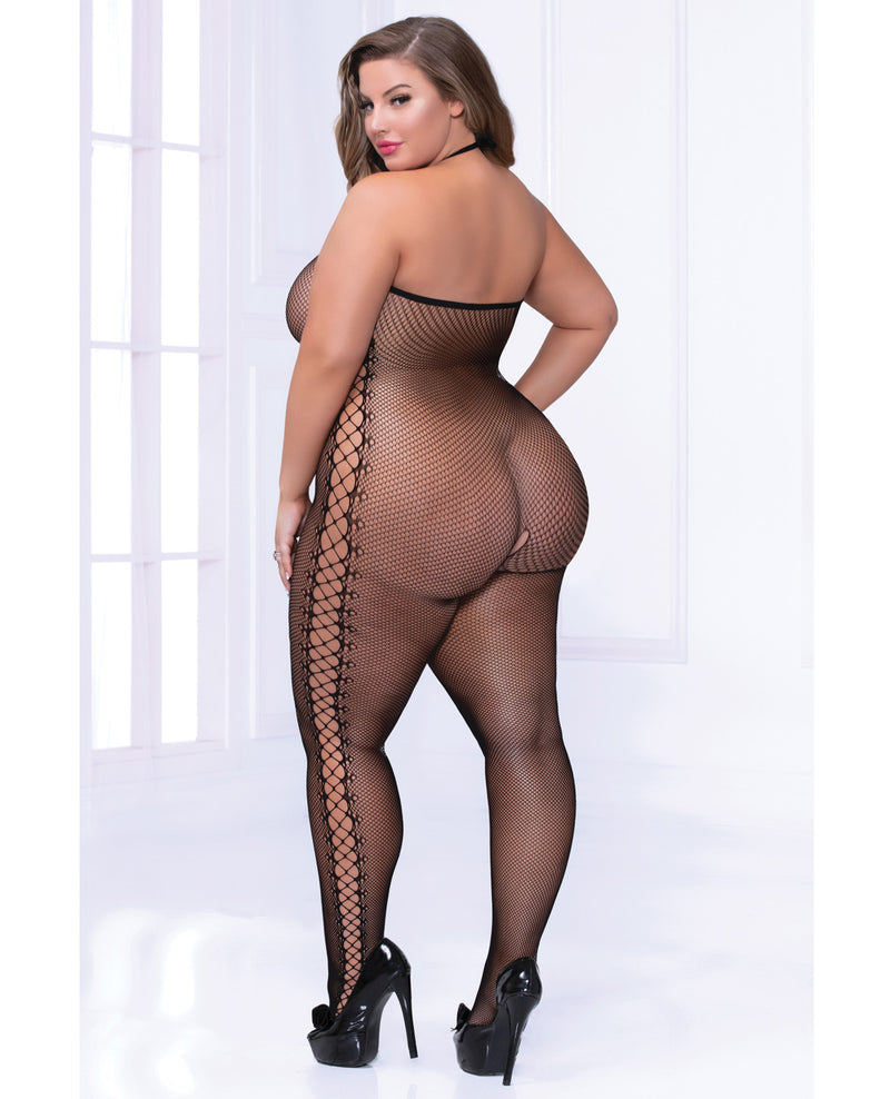 Cami Fishnet Bodystocking w/Side Strappy Detail - Black