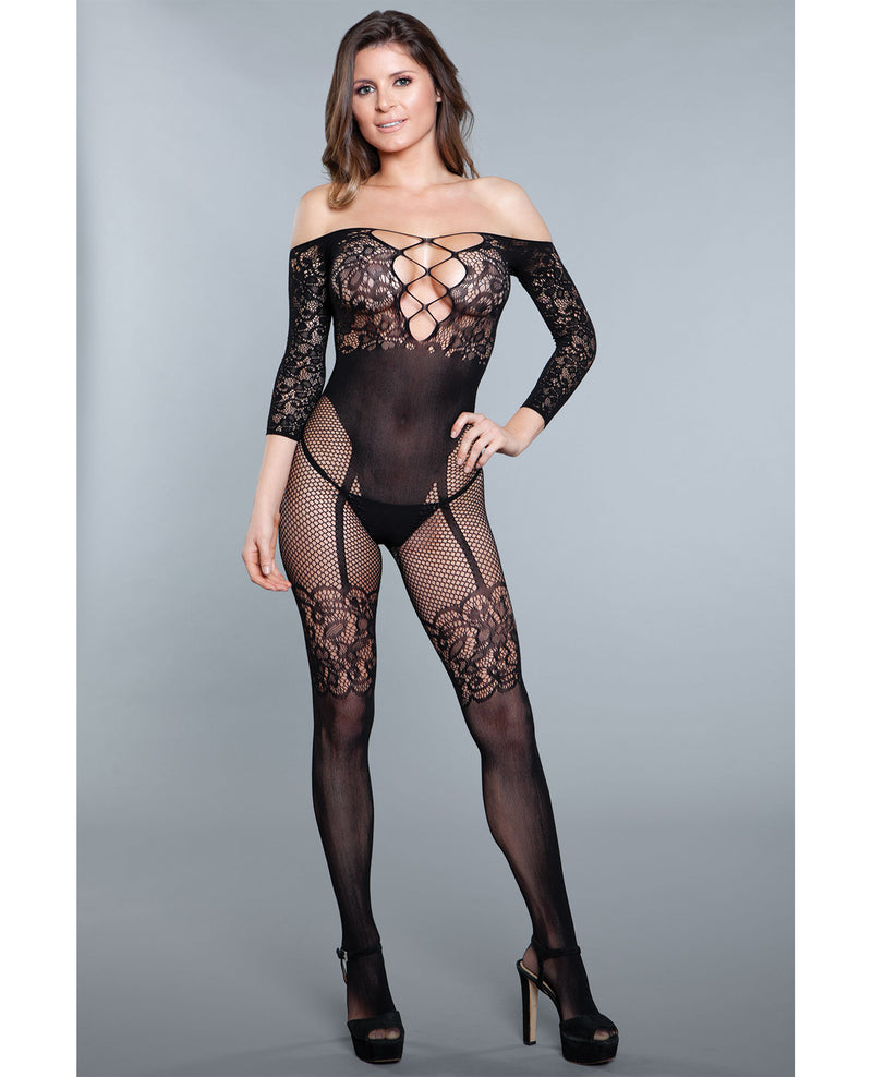 Lace Crotchless Bodystocking w/High Waist Garter detail Black O/S