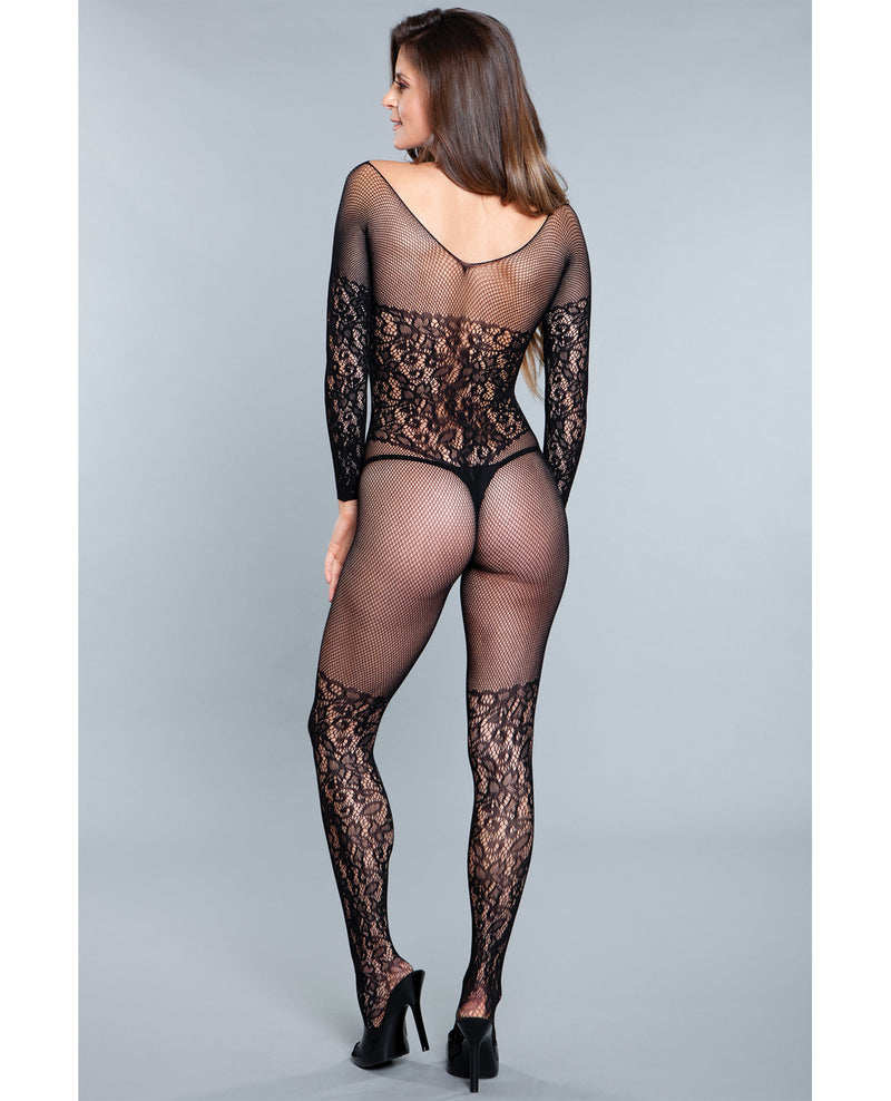 Lace Crotchless Bodystocking w/Lace Thigh High Detail - Black
