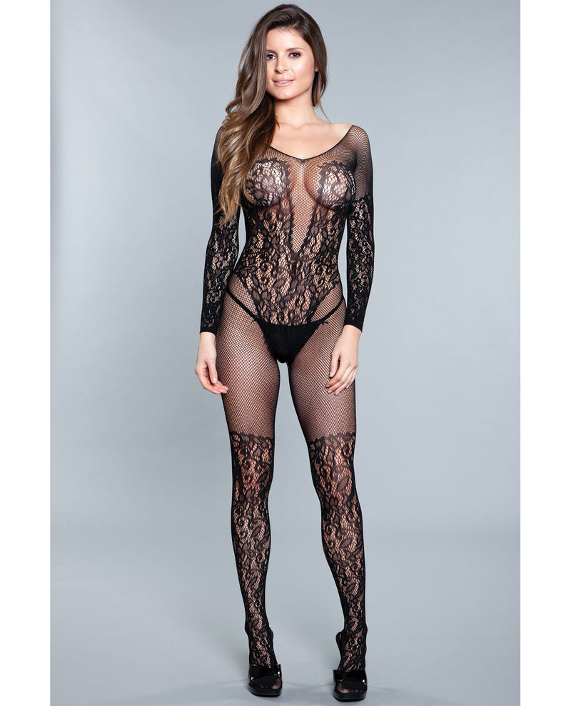 Lace Crotchless Bodystocking w/Lace Thigh High Detail Black O/S