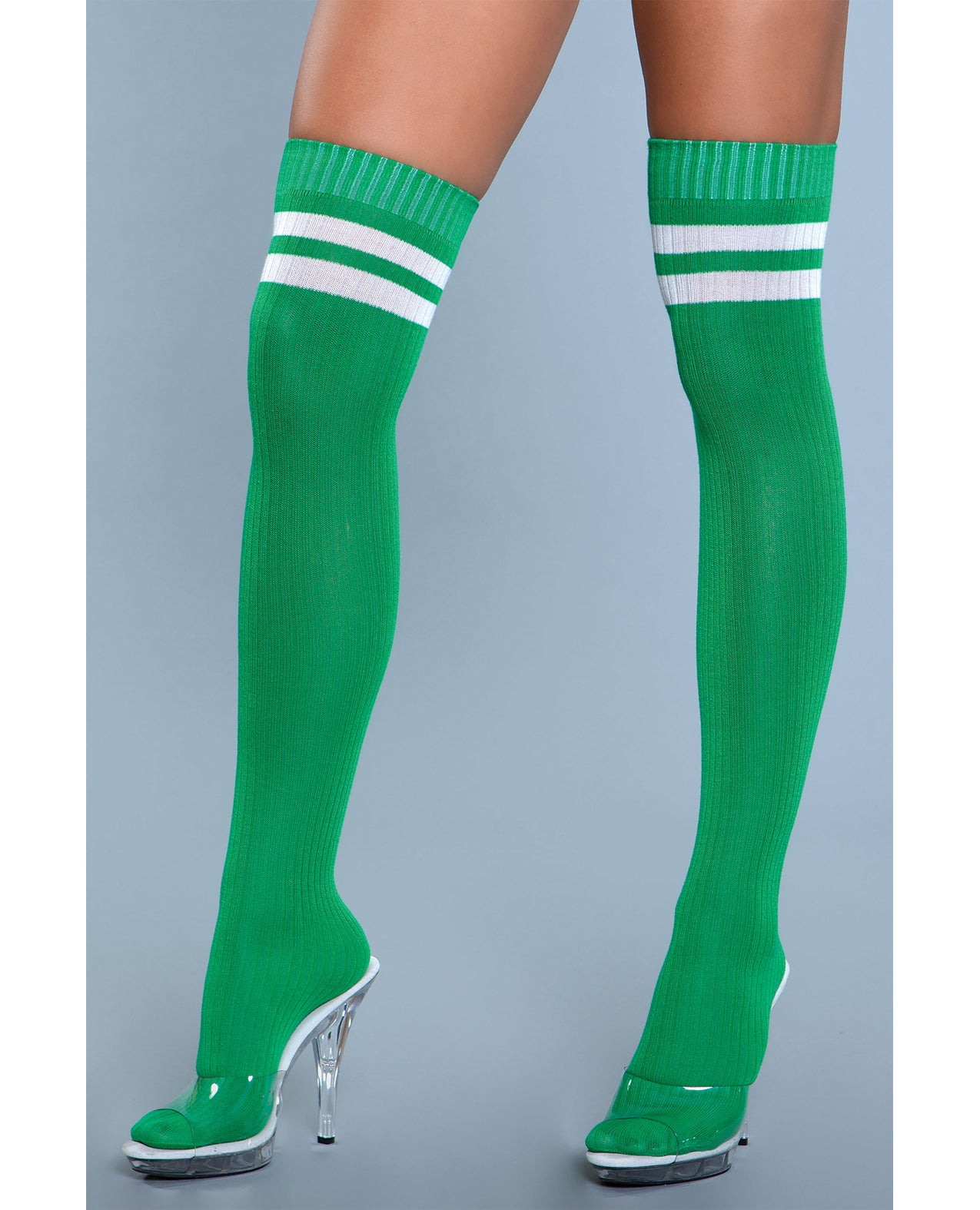 Ribbed Athletic Thigh Highs Green O/S