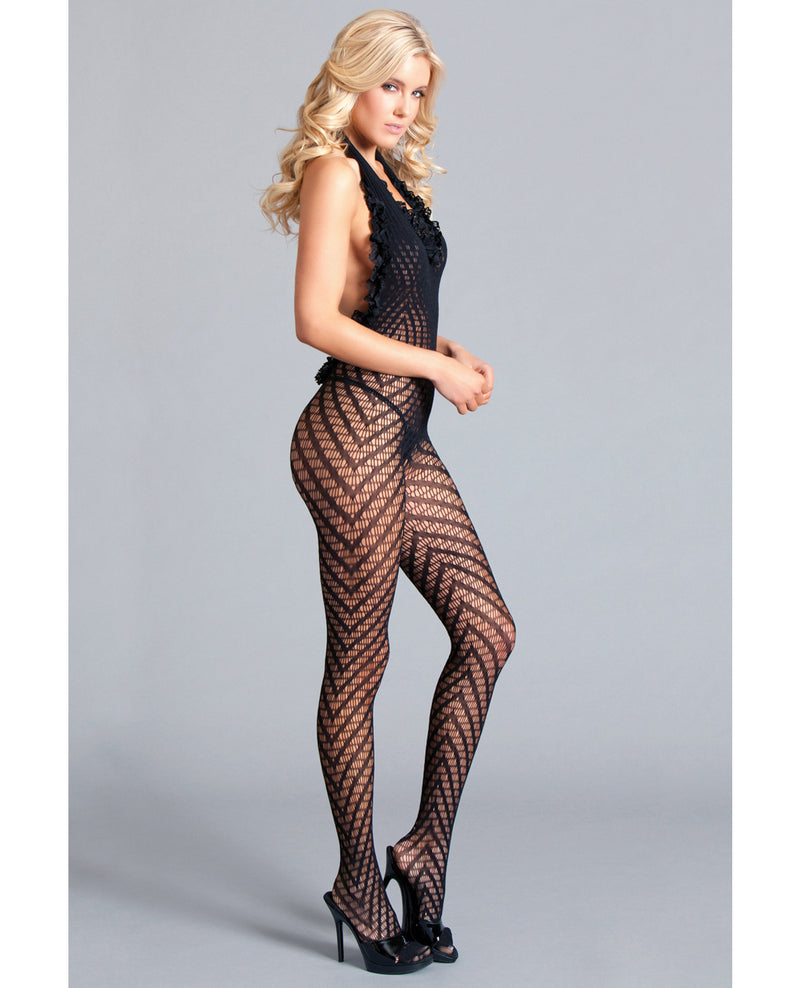Crotchless Halter Bodystocking Scoop Low Back, Ruffle Trim w/Asymmetrical Details Black QNLingerie - Plus/Queen - Packaged