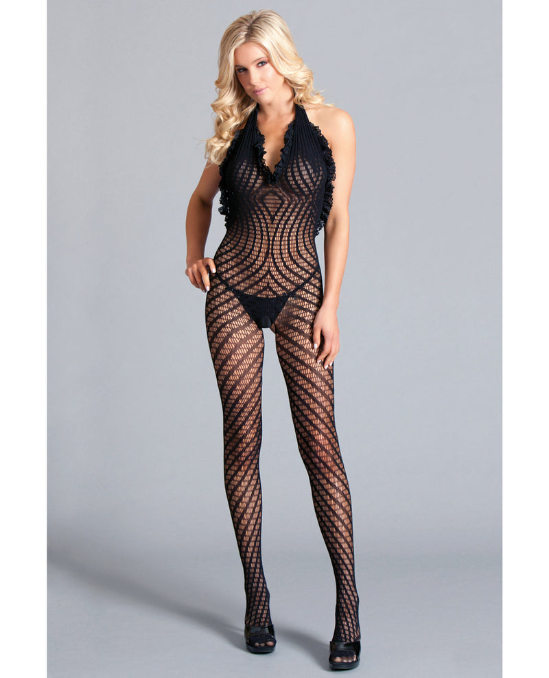 Crotchless Halter Bodystocking Scoop Low Back, Ruffle Trim w/Asymmetrical Details Black O/SLingerie - Packaged