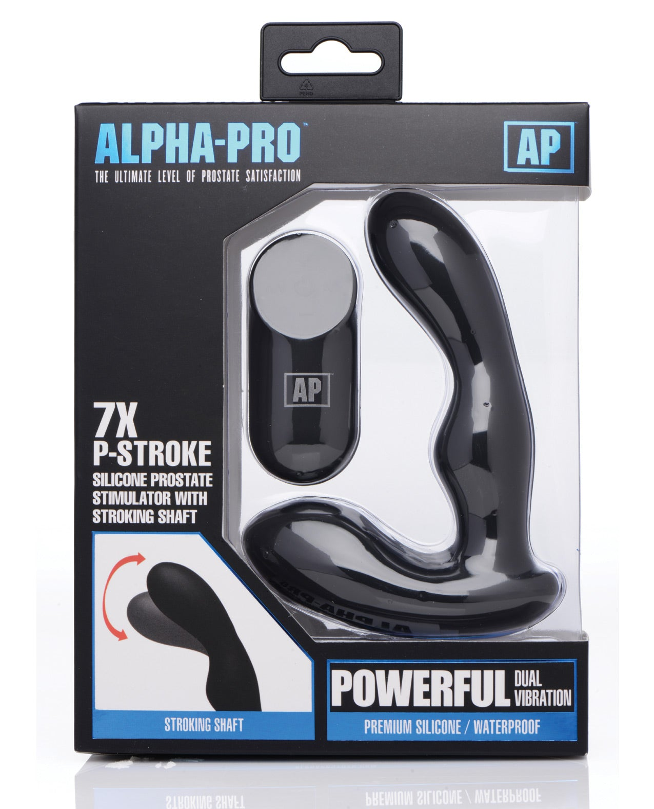Alpha Pro 7x P-Stroke Prostate Stimulator w/Stroking Shaft - Black