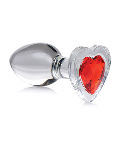Booty Sparks Red Heart Gem Glass Anal Plug - Medium