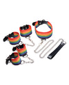 Master Series Kinky Pride Rainbow Bondage Set - Wrist & Ankle Cuffs & Collar w/Leash