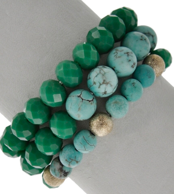Tilly 3 strand stretch bracelet - turquoise tones