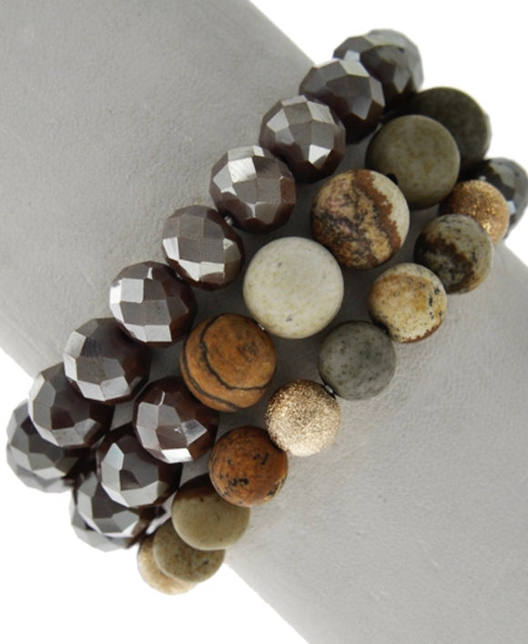 Tilly 3 strand bracelet set - brown/taupe tones